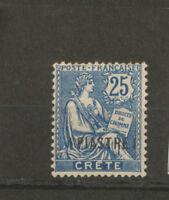 Colonie Française CRETE N°16 1pi sur 25c bleu Neuf * TB. H2122