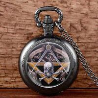 Vintage Masonic Freemasonry Pocket Watch Quartz Pendant Necklace Chain Mens Gift