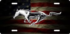 mustang horse flag new design Airbrushed car tag license plate 45