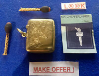 EDWARDIAN GOLD ON SILVER CHESTER 1904 MATCH HOLDER VESTA CASE MATCH SAFE STRIKER