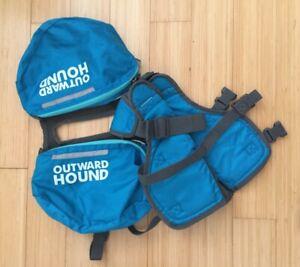 Outward Hound Dog Hiking Reflective Blue Double Backpack Adjustable Saddlebag