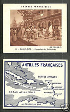Guadeloupe Procession Cooks Map card French Antilles 20s