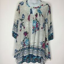 Jodifl Small Beige Floral Tunic Top Shirt Blouse Womens Hi Low 3/4 Sleeve Sheer
