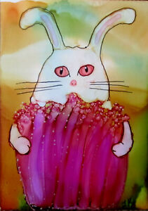 "Aceo art PRINT white bunny rabbit pink flower by Lynne Kohler 2.5x3.5"""