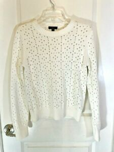 J Crew Point Sur Cotton Crew Neck All Over Pointelle Long Sleeve Sweater Size S