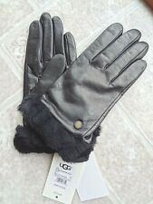 UGG Shearling Trimmed Leather Shorty Gloves (M) -New- Free Shipping