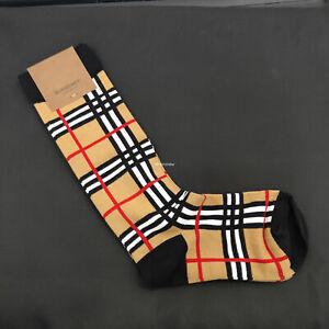 1 pair BB Check Socks Archice Besige Stocking Sport Casual Socks-Fit:30-32