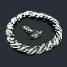 Vintage ANTONIO Heavy Sterling leaf link Necklace & Earrings set (9395)