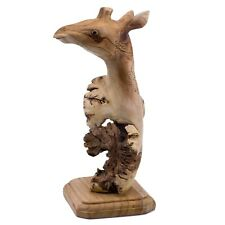 "Unique Giraffe Hand Carved Parasite Wood Carving Figurine Sculpture 9.5"" High"