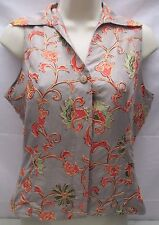 Dress Barn 100% Pure Silk Vest Size Small S Embroidered Floral Sleeveless Blouse