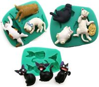 3D 3 Cats Cats Kitty Silicone Fondant Mould Chocolate Sugarcraft Cake Mold DIY