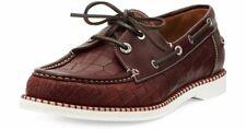 100% Auth New Men Jimmy Choo Danby Brown Croc Boat Shoe Moccasin Eu 41.5/Us 8