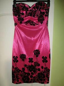 UK SIZE 8 KDK LONDON HOT PINK SATIN PENCIL DRESS WITH BLACK VELVET FLORAL DESIGN