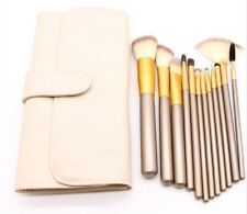 Profesional de 12 Piezas de Maquillaje de Base en Polvo Pinceles Set con Bolsa De Piel Sintética