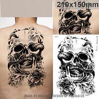 New black Skull temporary tribal large Back tattoo transfer paper Waterproof