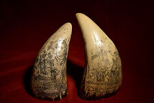 """faux scrimshaw  """" Adventure/Lake Errie """"  sold as matching pair.  Quality items!"""