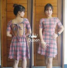 Backless Dress F2 (Checkered Pink)