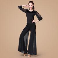 NEW Latin salsa tango rumba Cha cha Ballroom Dance Dress Top/&Pants#G110 Black