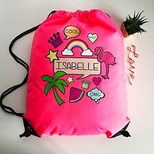 Personalised Drawstring Swimming Bag, School, PE Bag Pink Retro Bag for Girls