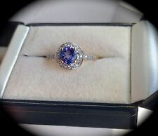TANZANITE RING 9K Y GOLD RING SIZE P 1/2 'CERTIFIED AA' EXQUISITE COLOUR! BNWT