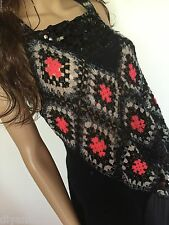 Free People, top, tank, Size XS, EUC black + multi color, acrylic/wool/spandex