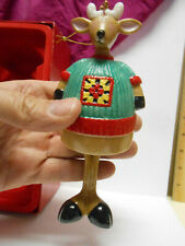 Fitz and Floyd Gift Gallery Reindeer Bell Ceramic Ornament with Swinging Feet Clapper 941304 with Certificate of Authenticity