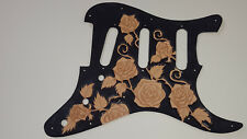 Leather pickguard Fender Stratocaster hand tooled and dyed harmony of roses B