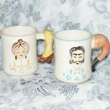 Vintage MOM & DAD Mugs Cups Pipes Boots Mustache Beehive Japan Souvenir