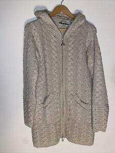 ARAN CRAFTS CHUNKY 100% MERINO WOOL CARDIGAN COAT Sweater Ladies Medium Ireland