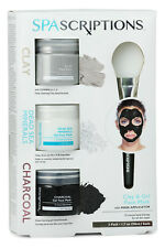SPAScriptions 3-PK CLAY DEAD SEA MINERALS CHARCOAL GEL FACE MASK Facial Therapy
