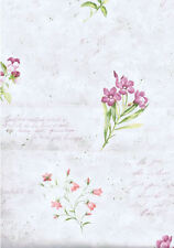Scattered Florals with Script Wallpaper on Light Mottled Green   IA790734