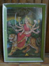 Gravure ancienne encadrée , Ambe , Kali , Inde , signée