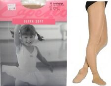 Dance Tap Ice Skating Capezio Ultra Shimmery suntan footed tights Girls Ms #c