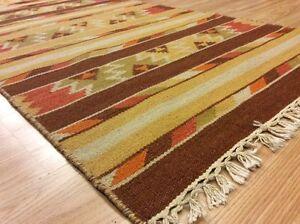 Tribal Kilim Hallway Runner Rug Handwoven Wool Yellow Rust Brown 83x240cm 60%OFF