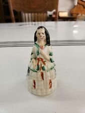 """Miniature Staffordshire Figurine of a Woman Holding a Flower 4"""" Tall"""