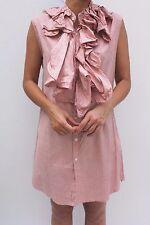 People Tree Pink Cotton Stripe Frill Mini Summer Dress 12 40 US 8 New