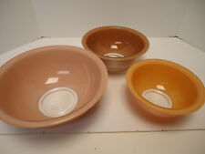 Vintage 3 Pc Pyrex Corning Autumn Rainbow Nesting Bowls Two Tone Clear Bottom