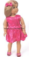 Hot Pink Sequin Dress-Purse-Bow 18 in Doll Clothes Fits  American Girl
