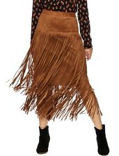$198 Nwt IC Collection By Connie Faux Suede Fringe Tiered Skirt Camel Brown S