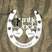 Personalised Auntie and Uncle Goodluck Bridal Wedding Horseshoe *FREE GIFT BAG*