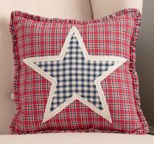 HATTERAS Star Throw Pillow Plaid Americana Patriotic Ruffle Red/White/Blue 12x12