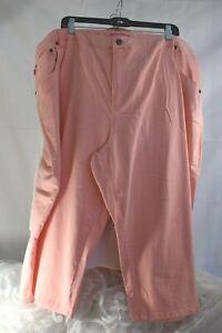 "WOMAN WITHIN (28W) Denim Capri Stretch Jeans PEACH 5 Pocket ""Natural Fit"" Zipper"