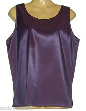 Ladies Sleeveless Thai Silk Purple Blouse /  Top / Large / UK 16 / FREE POST