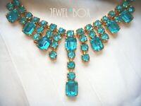SIGNED EARLY 1940s VINTAGE Turquoise Rhinestone Crystal Fringe Dropper NECKLACE