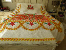 "Vintage Double Peacock Chenille Bedspread Full/Queen Vibrant Colors 99""Lx93""W"