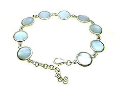 Sterling Silver link bracelet inlaid with Mother of Pearl - Adjustable length