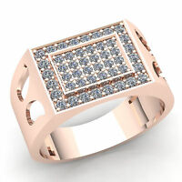 2ctw Round Brilliant Cut Diamond Mens Micro Pave Pinky Engagement Ring 18K Gold