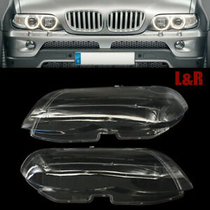 Left&Right Front Headlight Headlamp Lens Cover FOR BMW X5 E53 530i 544i 2004-06