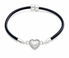 Black Leather and Silver Heart Magnetic Bracelet