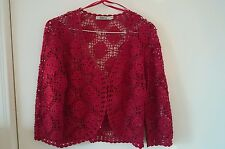 M&Co Womens Red Knitted Sweater, Medium,Hook Fasten RRP £16 Party Occasion